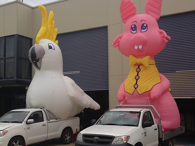 Inflatable Cockatoo and Easter Bunny Parade Inflatables