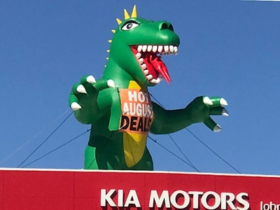 Inflatable Godzilla Caryard Rooftop Promotion