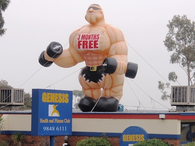 Inflatable Muscle Man Rooftop Promotion