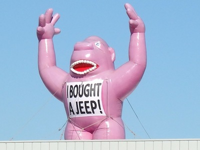Pink Rooftop Inflatable King Kong