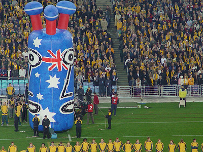 Australian One Eye Inflatable Rugby Union Fan Start of Game