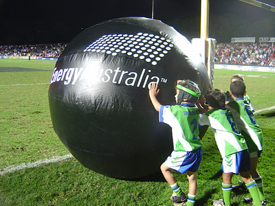 Giant Sponsors Inflatable Ball Half time activity