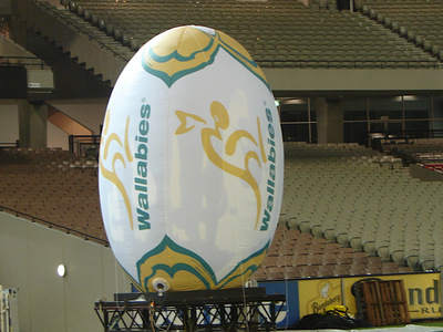 Inflatable Rugby Union ball attached to stage